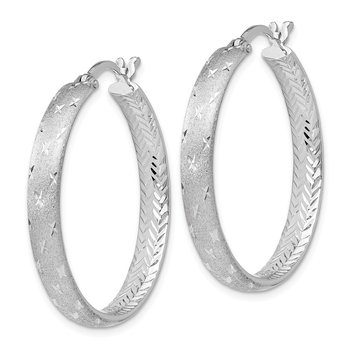 Leslie's Sterling Silver Rhodium In/Out Diamond-cut Earrings