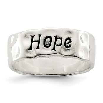 Sterling Silver Enamel, Hammered & Polished Hope Ring