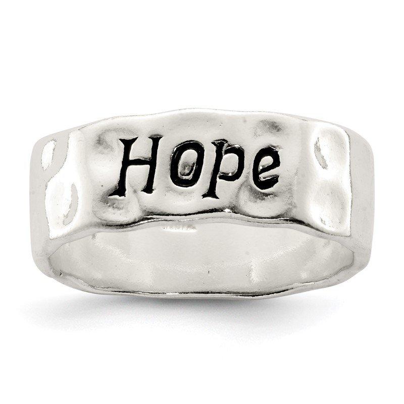 Quality Gold Sterling Silver Enamel, Hammered & Polished Hope Ring