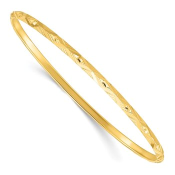 Sterling Silver Gold-tone Diamond Cut Slip-on Bangle