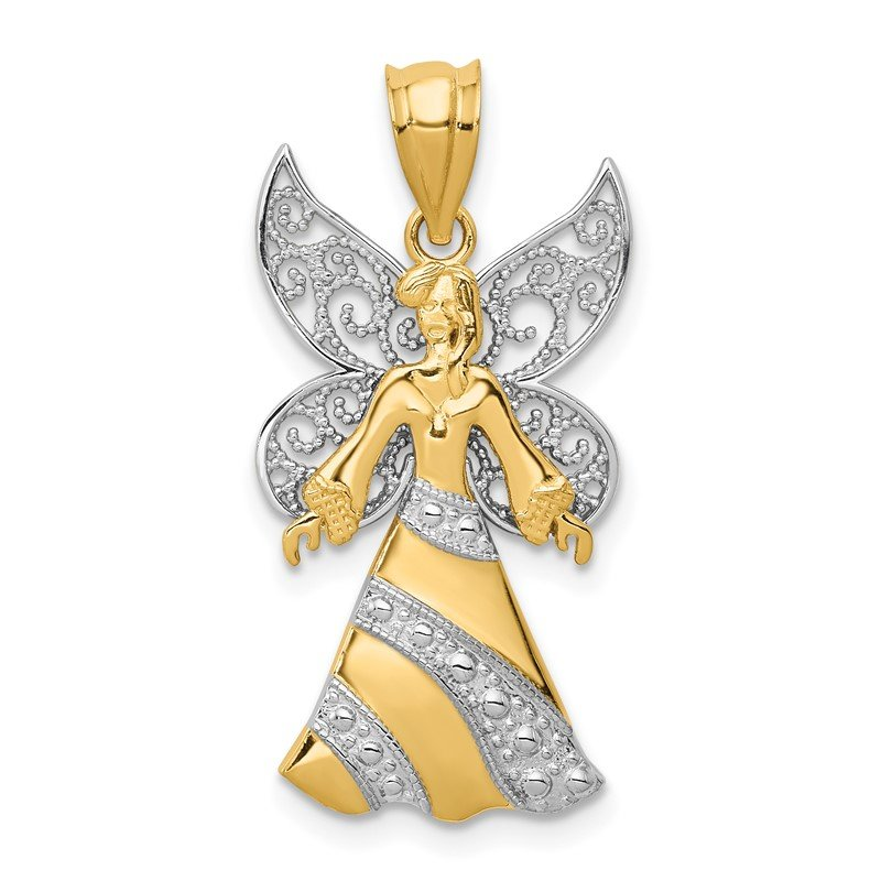 Quality Gold 14KTwo-tone W/Rhodium Angel Pendant