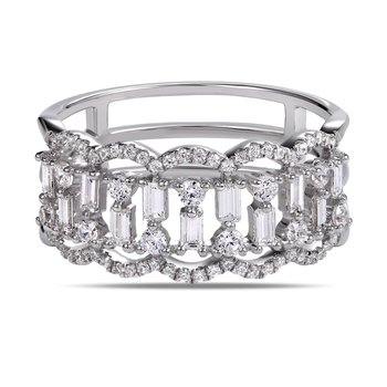 14K beautiful art deco Ring with 63 round Diamonds 0.40C & 11 bag Diamonds 0.34C