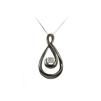 925 SS Diamond Pendant with Black Rhodium