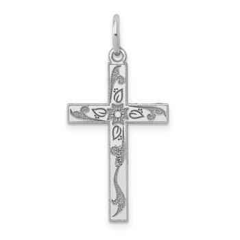14K White Gold Laser Designed Cross Charm