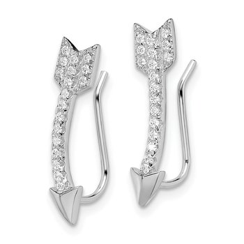 Sterling Silver Rhodium-plated CZ Arrow Ear Climber Earrings