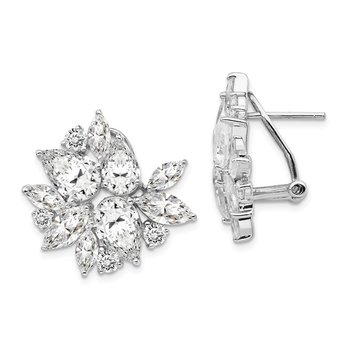 Cheryl M Sterling Silver CZ Omega Back Earrings