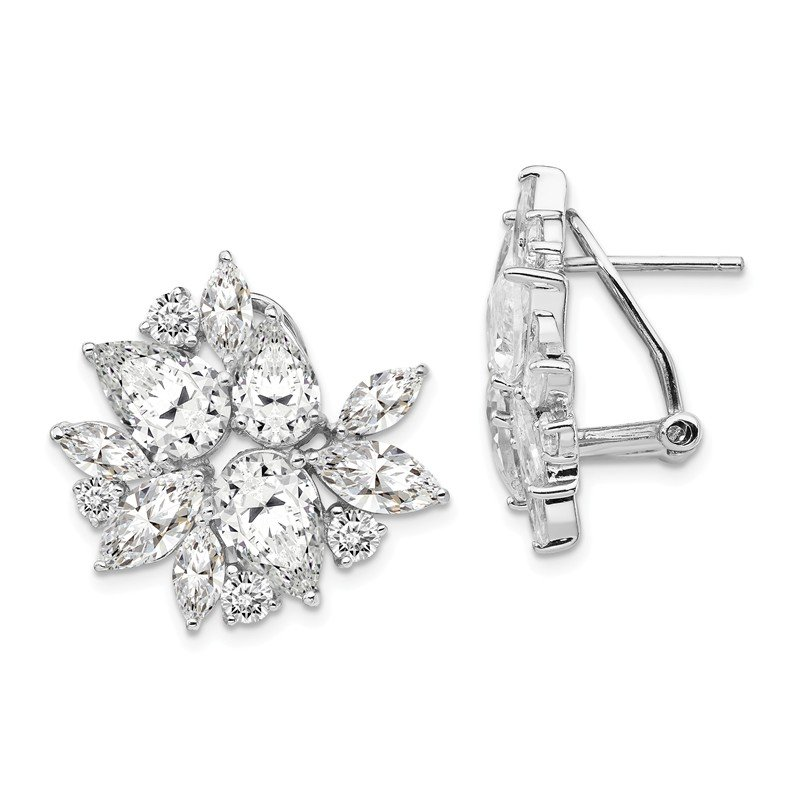 Cheryl M Cheryl M Sterling Silver Rhodium Plated Omega Back CZ Cluster Earrings