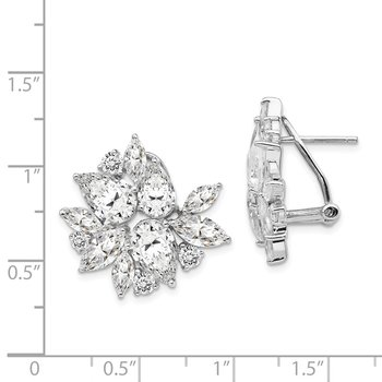 Cheryl M Sterling Silver Rhodium Plated Omega Back CZ Cluster Earrings
