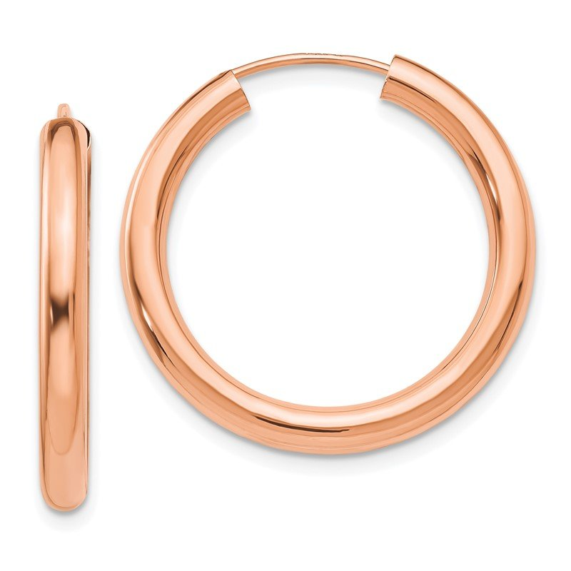 Quality Gold 14k Rose Gold Polished Endless Tube Hoop Earrings