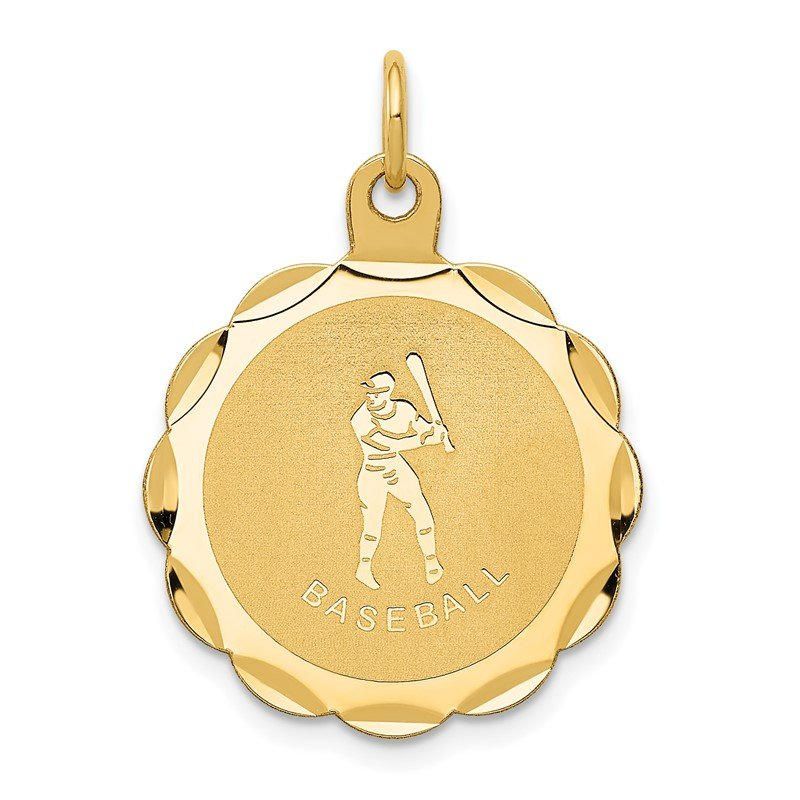 Quality Gold 14k Baseball Disc Charm