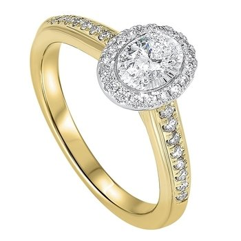 Diamond Oval Halo Antique Promise Ring in 14k Two-Tone Gold (½ ctw)