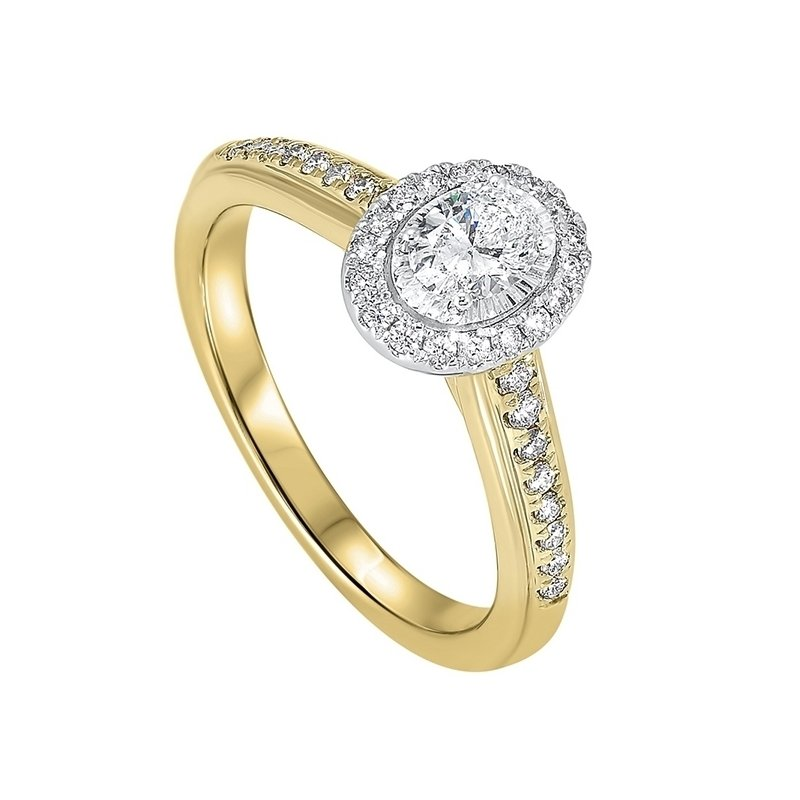 Gems One Diamond Oval Halo Antique Promise Ring in 14k Two-Tone Gold (½ ctw)