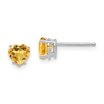 14k White Gold 5mm Heart Citrine Earrings