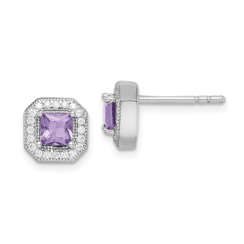 Quality Gold Sterling Silver Rhodium Plated Purple and Clear CZ Post Earrings