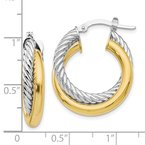 Leslie's Leslie's 10K Two-tone Polished and Textured Hoop Earrings