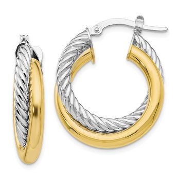 Leslie's 10K Two-tone Polished and Textured Hoop Earrings