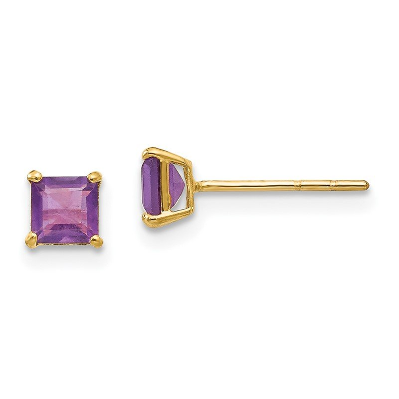 Quality Gold 14k Madi K Amethyst 4mm Square Post Earrings