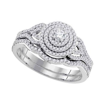 10kt White Gold Womens Round Diamond Triple Halo Bridal Wedding Engagement Ring Band Set 1/2 Cttw