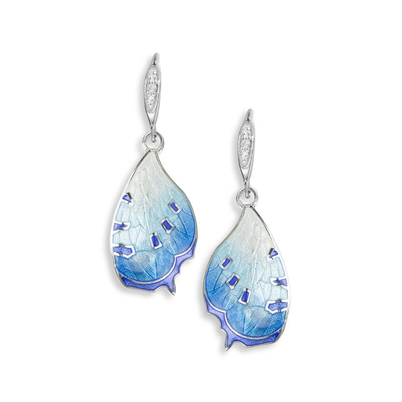 Nicole Barr Designs Blue Butterfly Wire Earrings.Sterling Silver-White Sapphires