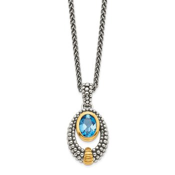 Sterling Silver w/Gold-tone Flash Gold-plated London Blue Topaz Necklace