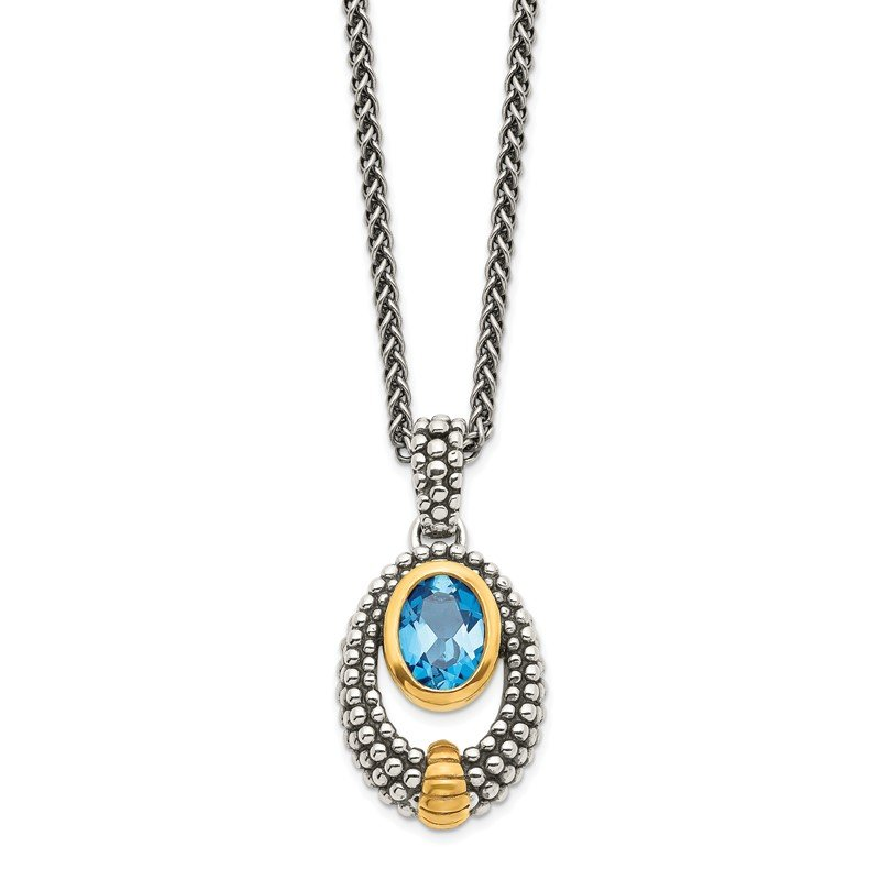Quality Gold Sterling Silver w/Gold-tone Flash Gold-plated London Blue Topaz Necklace
