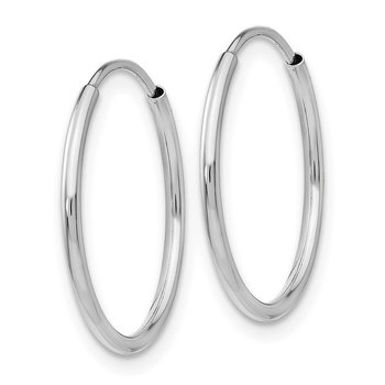 14k White Gold Polished Endless Tube Hoop Earrings