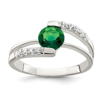 Sterling Silver Green CZ w/CZ Accents Ring