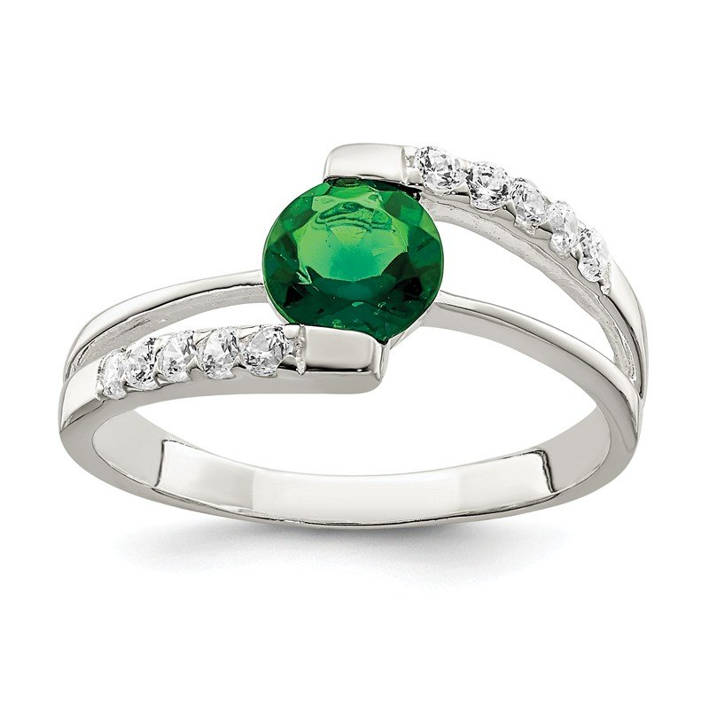 Quality Gold Sterling Silver Green CZ w/CZ Accents Ring