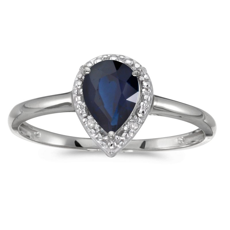 Color Merchants 14k White Gold Pear Sapphire And Diamond Ring
