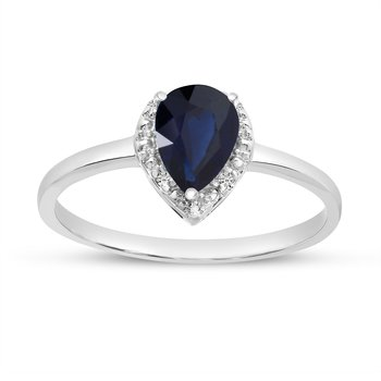 14k White Gold Pear Sapphire And Diamond Ring