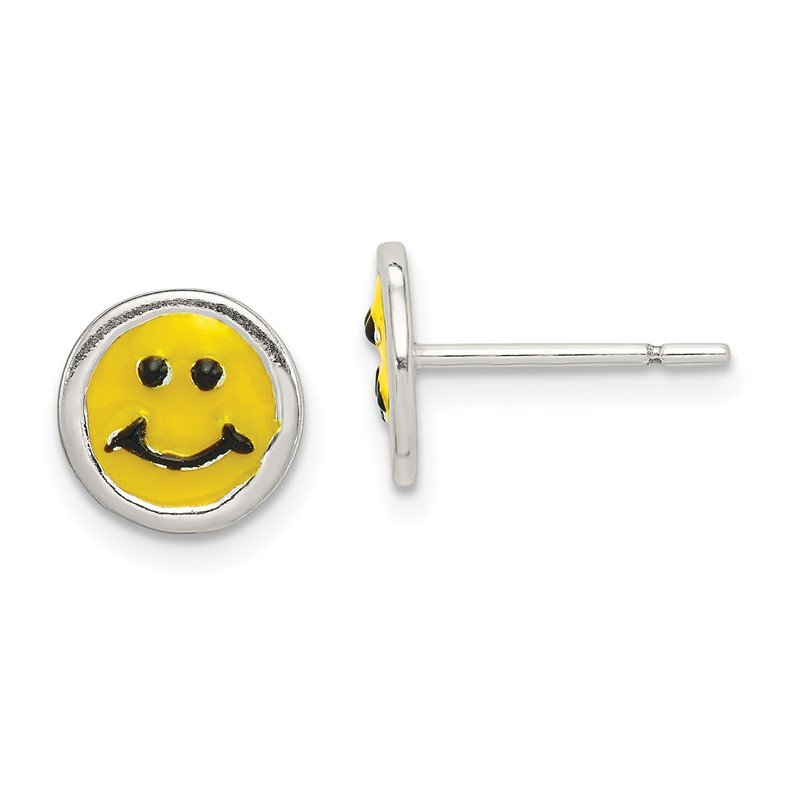 Quality Gold Sterling Silver Enameled Happy Face Post Earrings