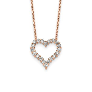 14kr True Origin Lab Grown Diamond VS/SI, D E F, Heart Pendant Necklace