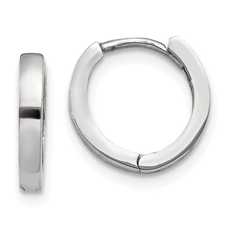 Quality Gold 10k White Gold Hinged Hoop Earrings