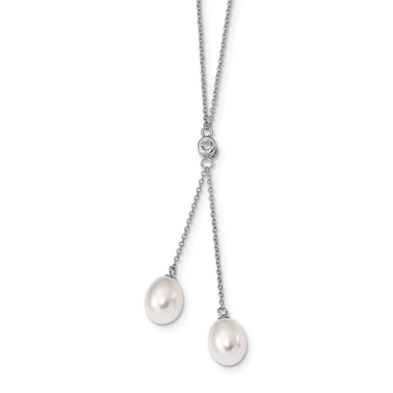 Quality Gold Sterling Silver Rhod-plated 8-9mm White Rice FWC Pearl CZ Dangle Necklace