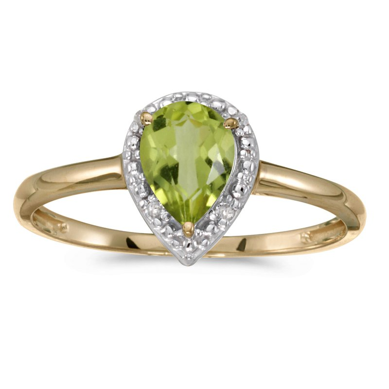 Color Merchants 14k Yellow Gold Pear Peridot And Diamond Ring