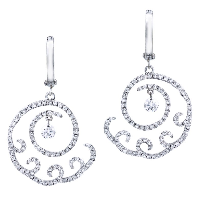 14K White Gold 1.22 ct Cloud Swirl Dashing Diamonds Earrings