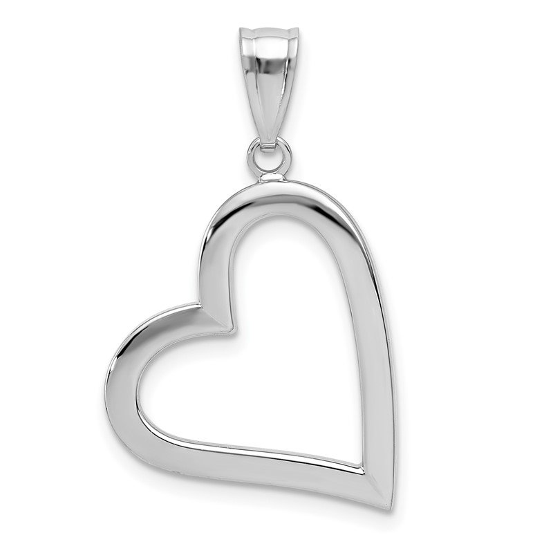 Quality Gold 14k White Gold Polished Hollow Heart Pendant