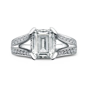 Grand Opulance Collection Emerald Cut Center Split Shank Engagement Ring in 14K White Gold (2-1/2 ct. tw)
