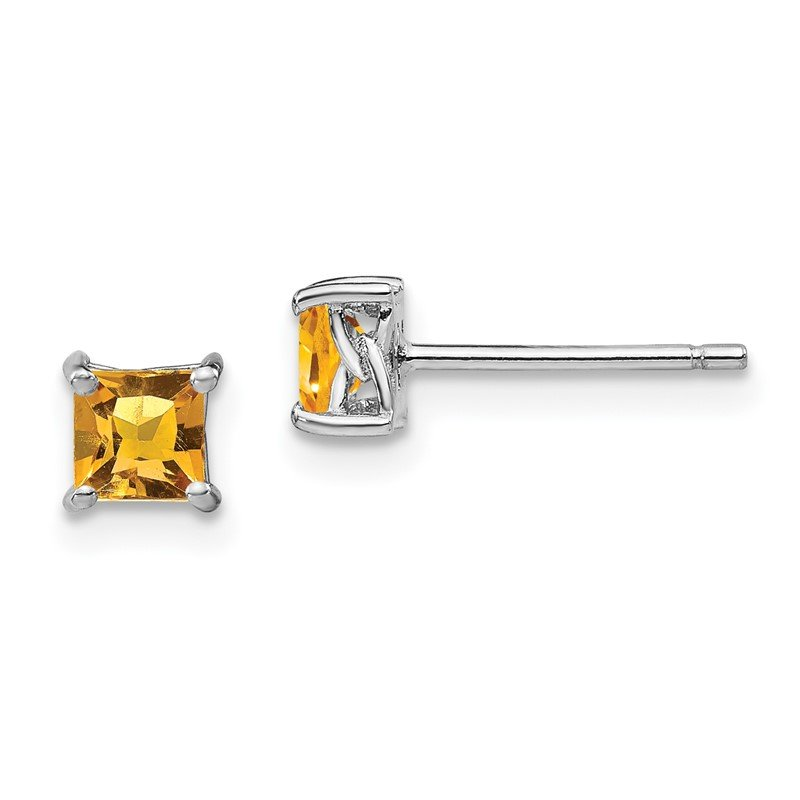 Quality Gold Sterling Silver 4mm Princess Citrine Post Earrings