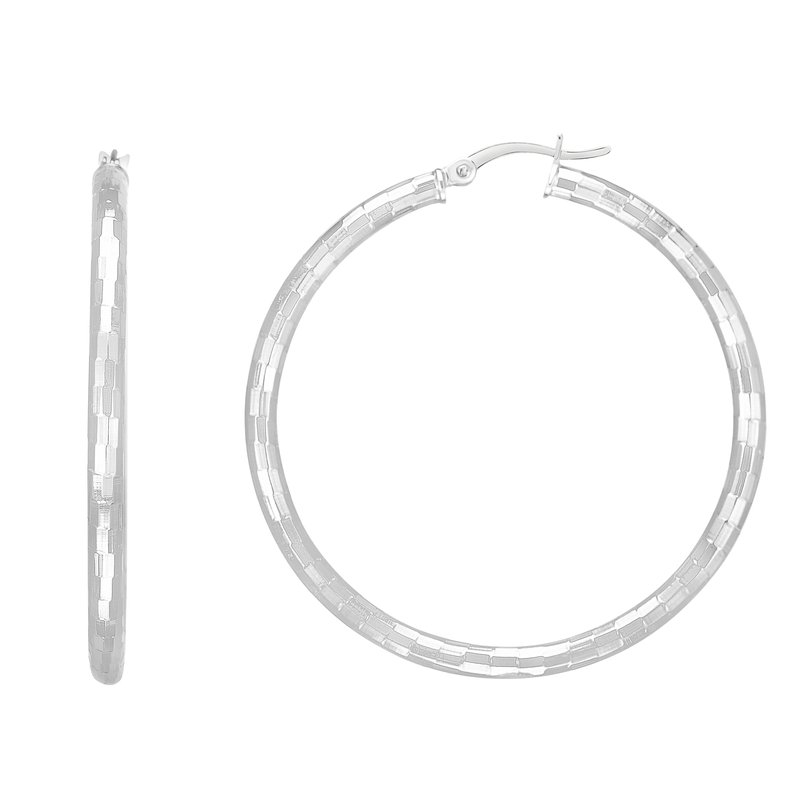 Royal Chain Silver 40mm Disco Diamond Cut Hoops