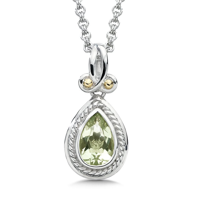 Colore SG Sterling Silver, 18K Gold and Green Amethyst Pendant