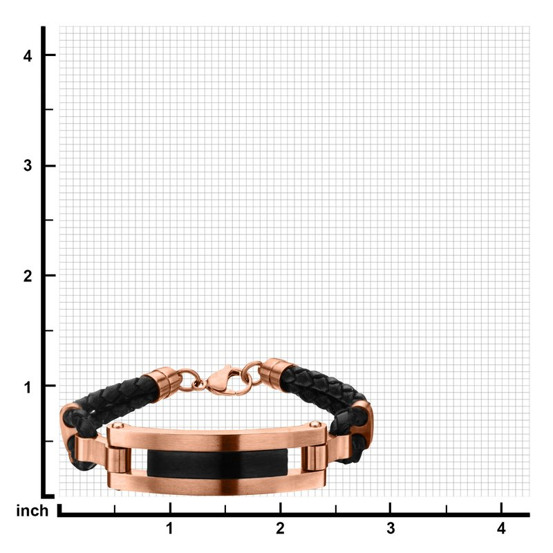 INOX Rose Gold Plated and Matte Black Finished ID in Black Leather Bracelet