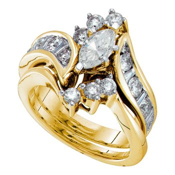 14kt Yellow Gold Womens Marquise Diamond Bridal Wedding Engagement Ring Band Set 2.00 Cttw (Certified)