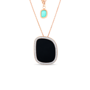 Pendant With Black Jade, Agate, And Diamonds