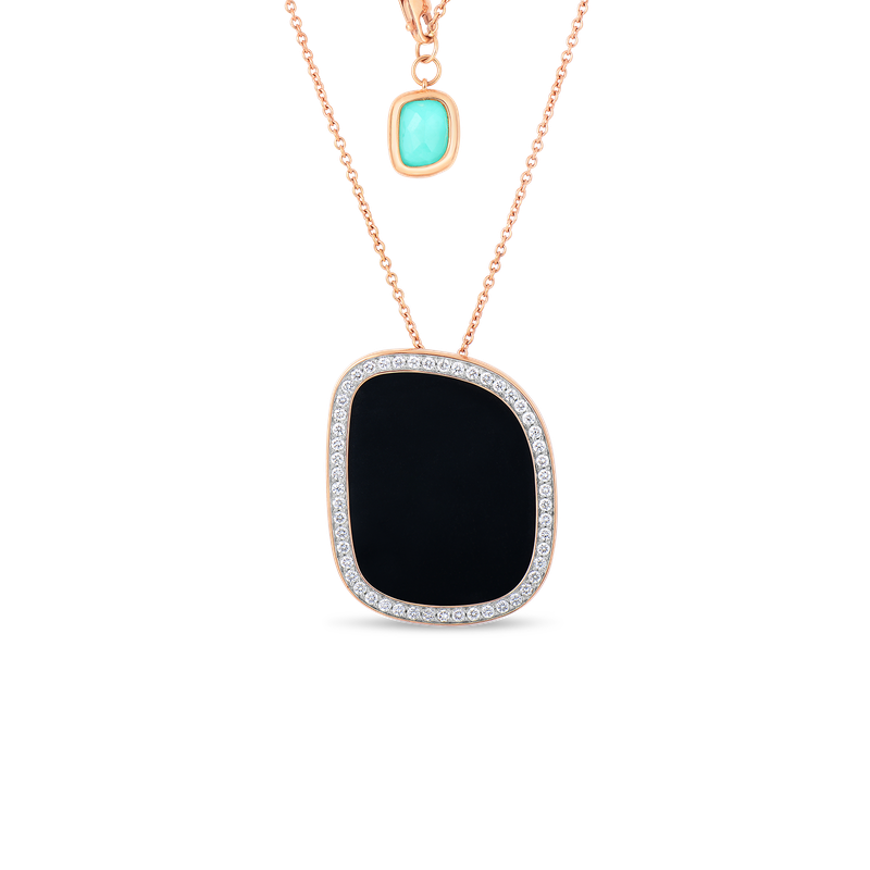 Roberto Coin 18KT GOLD PENDANT WITH BLACK JADE, AGATE AND DIAMONDS