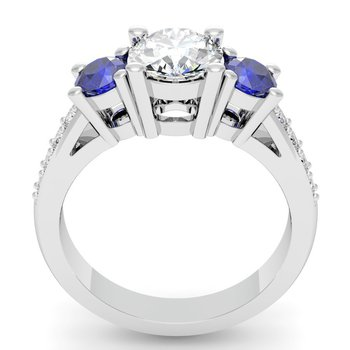 Three Stone Blue Sapphire Pave set Diamond Ring