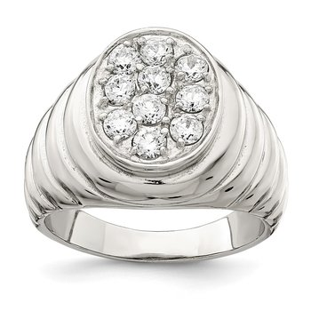 Sterling Silver Rhodium-plated Men's CZ Cluster Ring