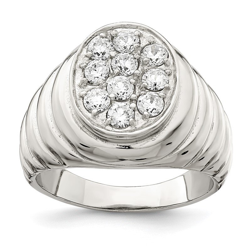 Quality Gold Sterling Silver Rhodium-plated Men's CZ Cluster Ring
