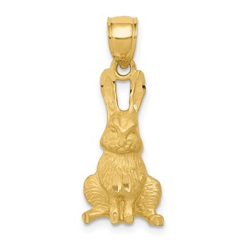 14K Diamond-cut Rabbit Pendant