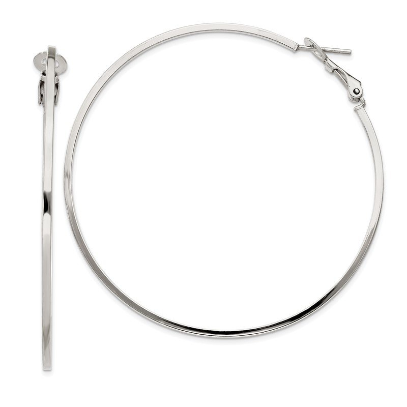 Lester Martin Online Collection Sterling Silver RH-plated 1.5x60mm Omega Back Hoop Earrings